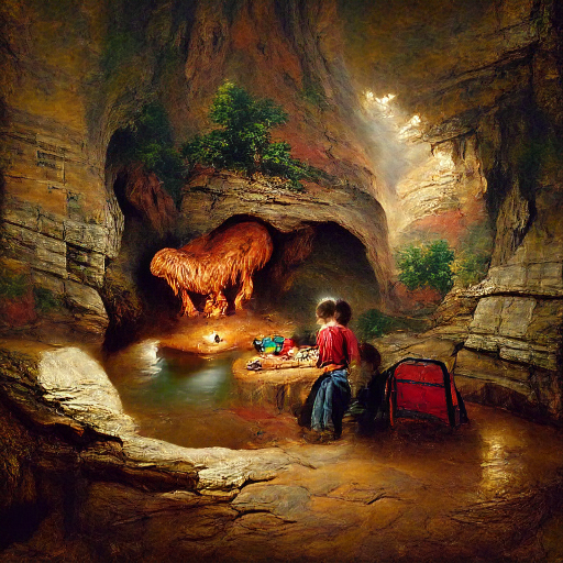 'a cave by Asher Brown Durand' MSE Regulized Modified Text-to-Image