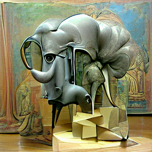 'a surrealist sculpture of an elephant' Pixray Text-to-Image