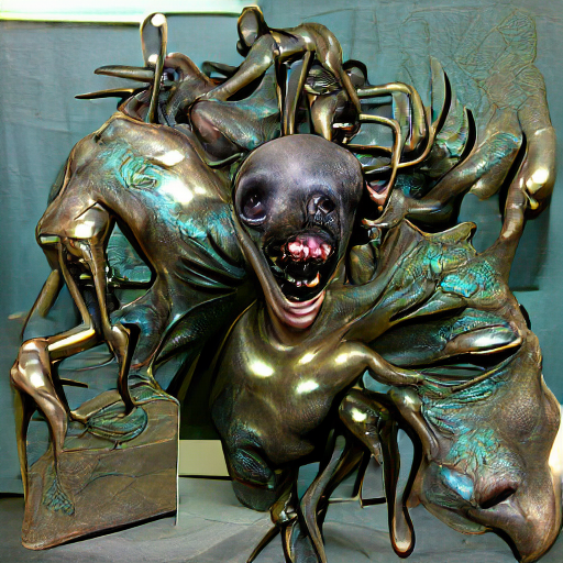 'a bronze sculpture of a nightmare creature' Pixray Text-to-Image