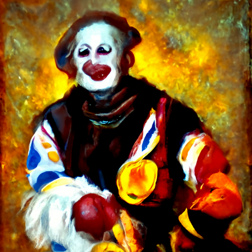 'an oil painting of a clown' CLIP Guided Diffusion v6 Text-to-Image