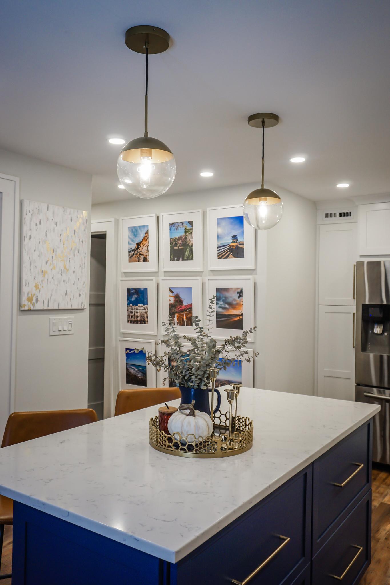 Kitchen Island Fall Decorations | White Pumpkin and Eucalyptus | Kitchen Gallery Wall