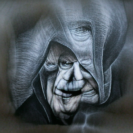 'a charcoal drawing of Emporer Palpatine' MSE Regulized Modified Text-to-Image