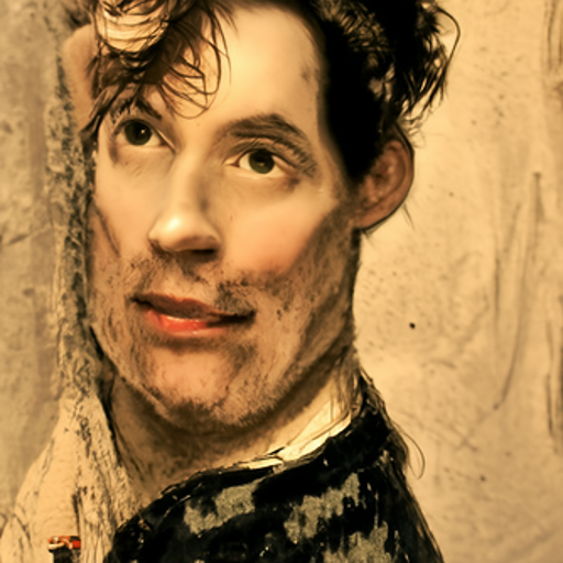 'an attractive man by John Linnell' CLIP Guided Diffusion v6 Text-to-Image