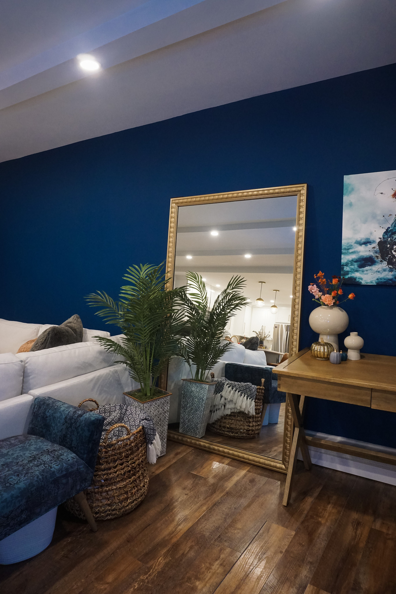 Gold Floor Length Mirror in Living Room | Blue Accent Wall | Subtle Fall Decorations