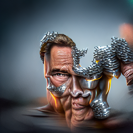 'a digital rendering of Arnold Schwarzenegger made of metal by Muriel Brandt' MSE Regulized Modified Text-to-Image