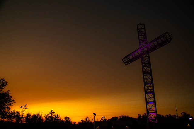 Colorful Cross at Sunset