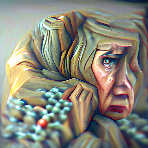 'an oil painting of a worried woman | Rendered in Cinema4D' Pixray Text-to-Image
