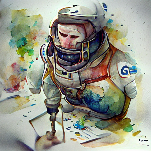 'a watercolor painting of an astronaut' Pixray Text-to-Image