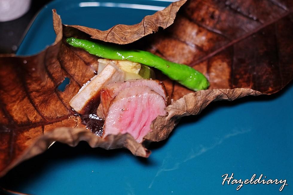 SAKEMARU Artisan Sake- Grilled Miyazaki A5 Sirloin with Japanese Yam on Hoba Leaf