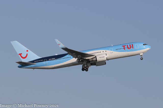 G-OBYK - 1999 build Boeing B767-38AER, departing from Runway 05L at Manchester
