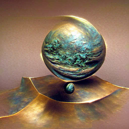 'a bronze sculpture of a planet' MSE Regulized Modified Text-to-Image