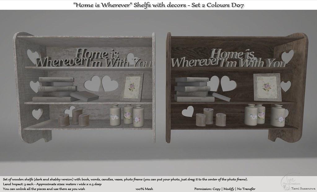 ".:Tm:.Creation ""Home is Wherever"" Shelfs with decors – Set D07"