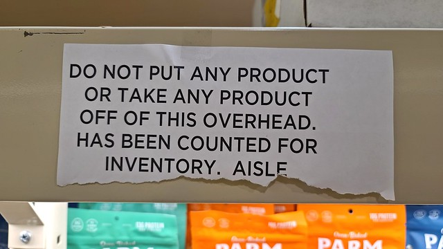 This shelf has been counted for inventory