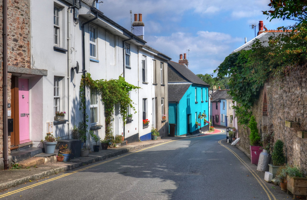 Colourful cottages of Millbrook, Cornwall