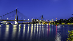 Anzac Bridge, Pyrmont and some Glebe Foreshore at Blue Hour (24 secs)