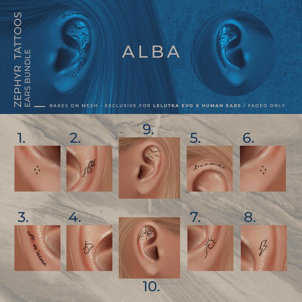 ALBA – Zephyr Tattoos Ears Bundle @ Harajuku