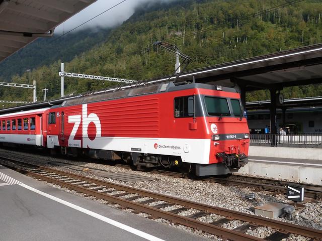 Die Zentralbahn, Switzerland - Locomotive 101962-9 stands at Interlaken Ost with the 9.33 to Meiringen on the 20th September 2016