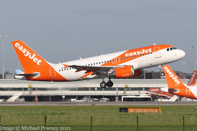 G-EZBX - 2007 build Airbus A319-111, departing from Runway 05L at Manchester