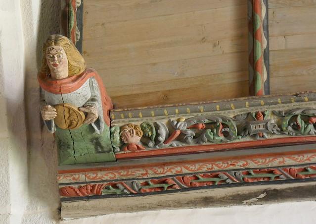 Sablière sculptée, église gothique Notre-Dame de Croaz Batz, Roscoff, Pays de Léon, Finistère, Bretagne, France