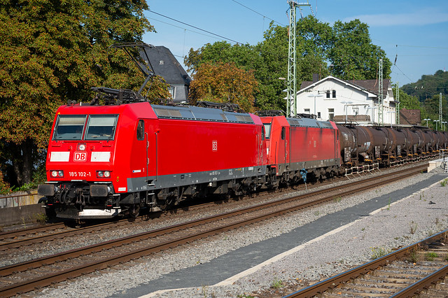 Double traction … two Deutsche Bahn BR185 with a fuel train seen in Linz, Germany