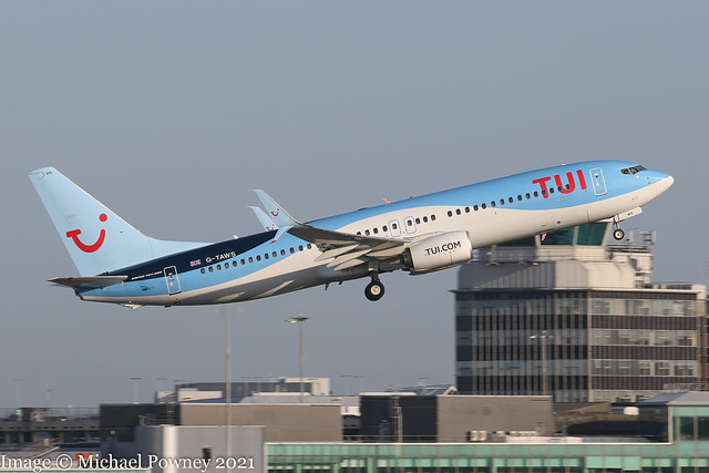 G-TAWS - 2014 build Boeing B737-8K5, climbing on departure from Runway 05L at Manchester