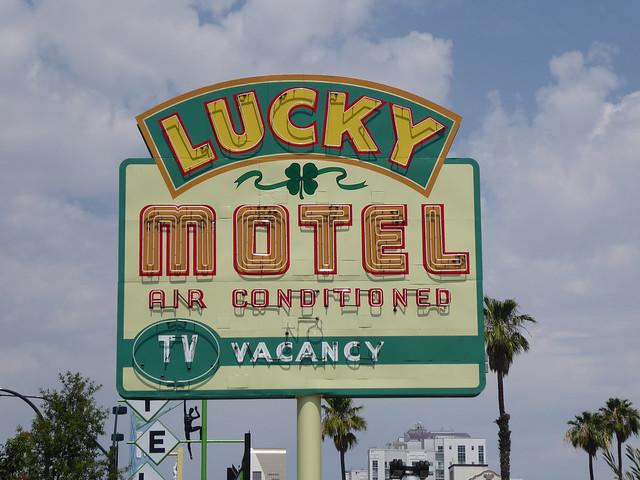 Las Vegas, NV Lucky Motel neon sign