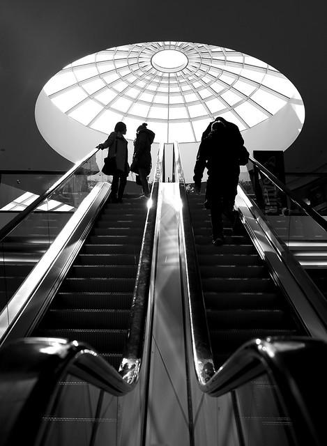 Rolltreppe aufwärts 2 sw