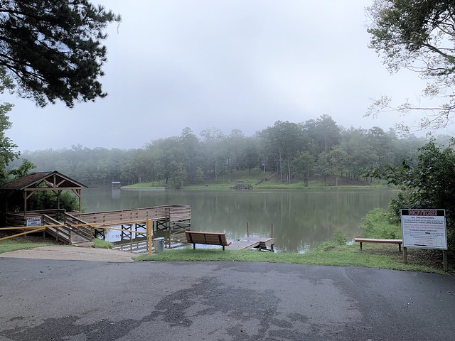 A foggy day at the boat dock on Indian Lake