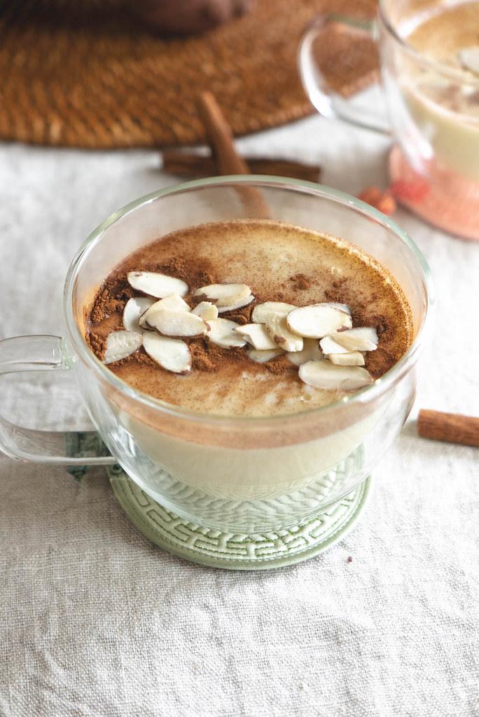 An overhead shot of Korea goguma latte.