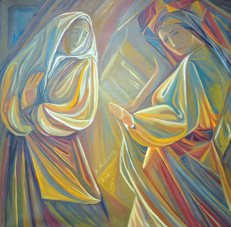 Любов Міненко «Та що відає», 2001 р. (полотно олія). Робота знаходиться у фондовій колекції Черкаського обласного художнього музею.