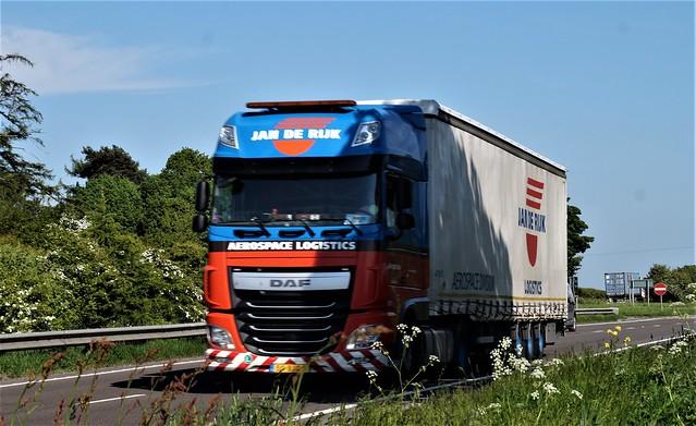 14 DSC08401. A66 Trucks, Hargill, North  Yorkshire. Jan De Rijk Aerospace Logistics.  Daf.