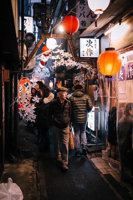 The narrow alleyways of Tokyo