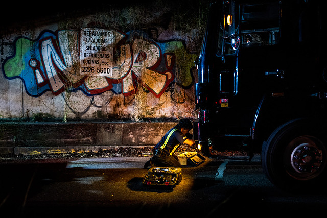 Unexpected truck breakdown under the bridge. San José. Costa Rica