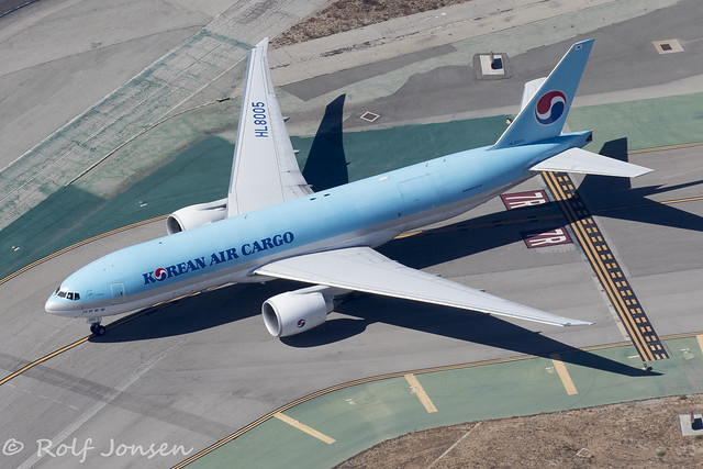 HL8005 Boeing 777-200F Korean Air Cargo Los Angeles Airport KLAX 14.09-18