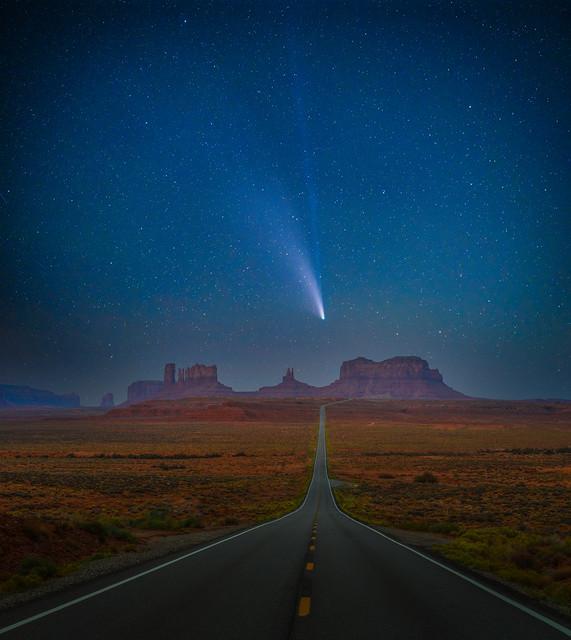Comet Neowise Monument Valley Starry Night Highway 163 Mile Marker 13 Sandstone Fuji GFX100 Fine Art Landscape Nature Photography Utah Desert! Dr. Elliot McGucken Master American West Fujifilm GFX 100 & FUJIFILM GF 100-200mm f/5.6 R LM OIS WR Lens!