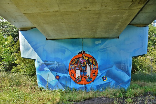 Circular Murals depicting the Anishinaabe Creation Story by Philip Cote, Old  Mill Station Bridge, 2672 Bloor Street West, Etobicoke, Toronto, ON