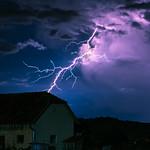 11. August 2021 - 22:41 - Bolt from the Blue: a lightning bolt jumps out of a Cumulonimbus storm cloud.