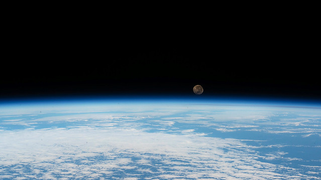 A 'waning gibbous' Moon On Earth's Horizon from the ISS