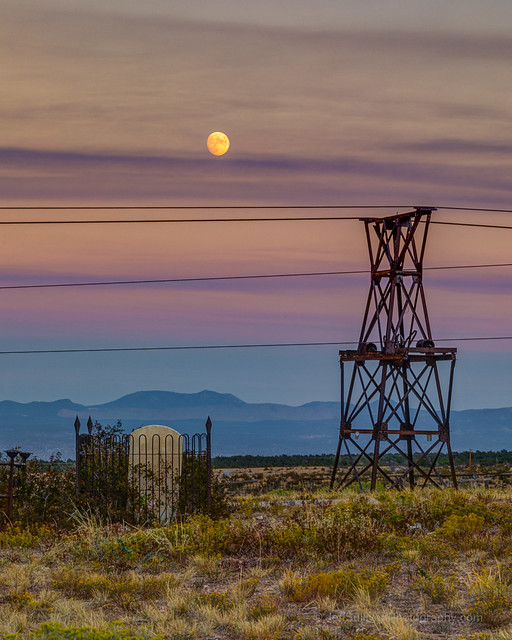 Moon Rise Over Boothill Cemetery and the Pioche Aerial Tramway