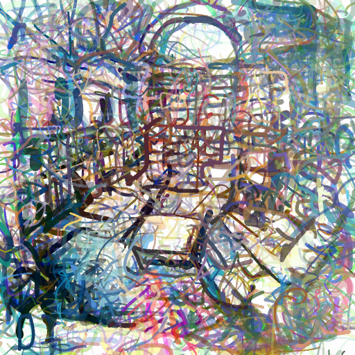'an etching of a library' CLIPDraw Text-to-Image