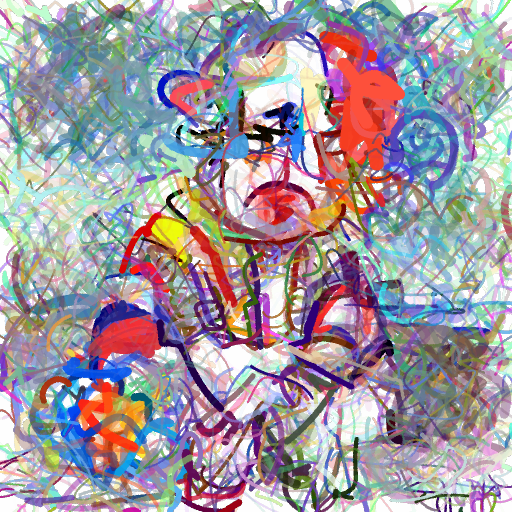 'a sad clown' CLIPDraw Text-to-Image