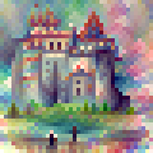 'a watercolor painting of a castle' PixelDraw Text-to-Image