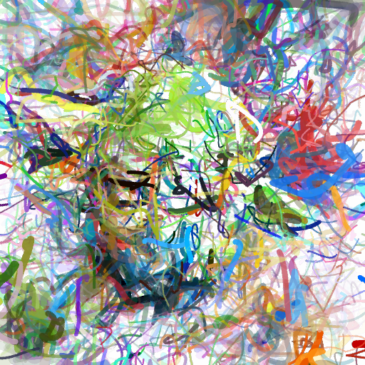 'an abstract painting of Yoda' CLIPDraw Text-to-Image