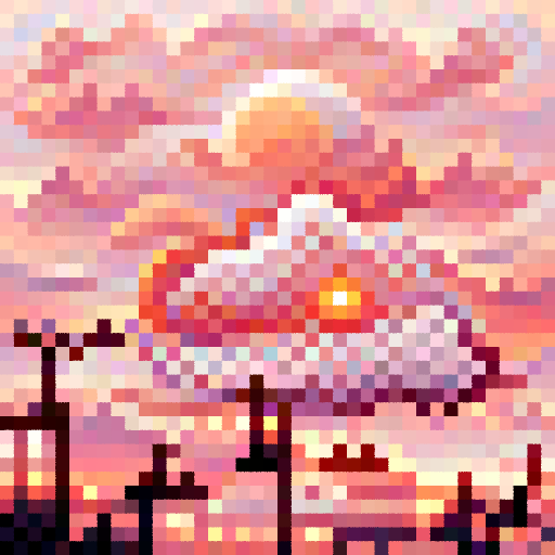'a cloudy sunset' PixelDraw Text-to-Image