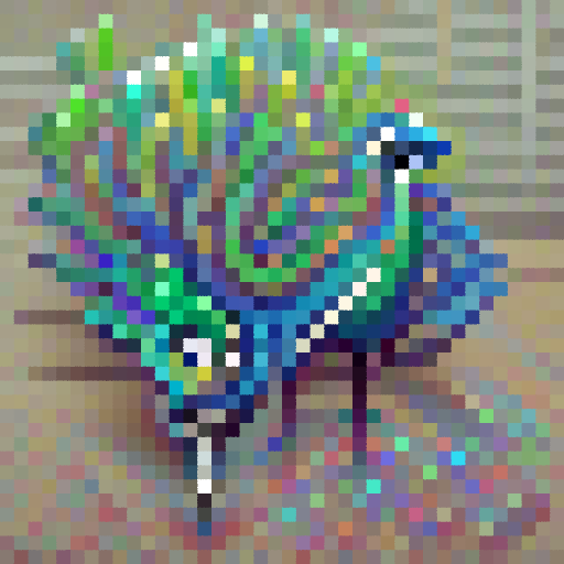 'a cartoon of a peacock' PixelDraw Text-to-Image