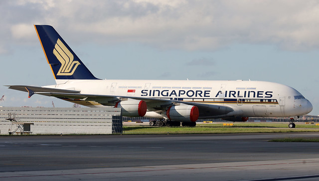 Singapore Airlines A380 9V-SKJ stored at SIN/WSSS