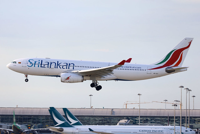 SriLankan Airlines A330-200 4R-ALA landing HKG/VHHH