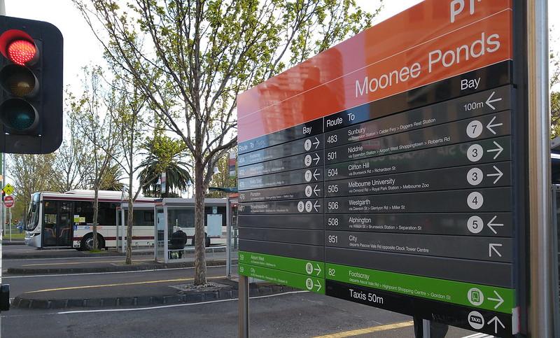 Bus interchange signage, Moonee Ponds