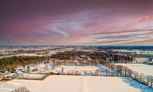 Wintery evening in Handel near De Rooije Plas, Noord-Brabant.