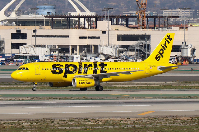 Spirit A320 arriving at LAX
